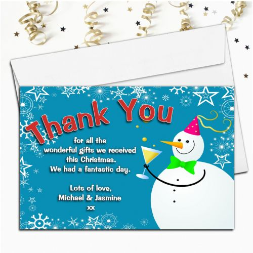 10 Personalised Happy Snowman Christmas Xmas Thank you Cards N2